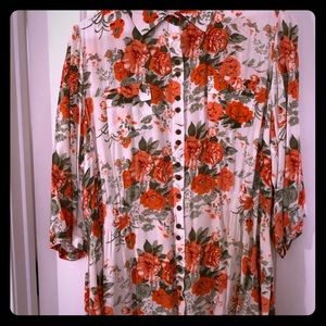 Tops - Floral Button-Down Shirt